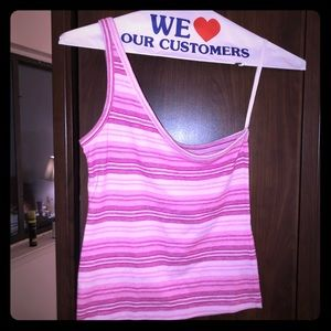 Cute pink one sleeved striped Charlotte Russe top